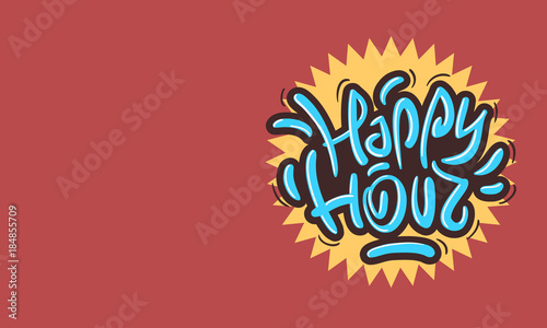 Cuadros en Lienzo Happy Hour Design Funny Cool Brush Lettering Graffiti Style.