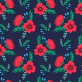 Elegancki kolorowy wzór kwiatowy z czerwone maki i dzikie kwiaty na ciemnym tle. Druk Ditsy. Ilustracji wektorowych - 184857588