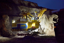 Excavator Works In A Quarry At...