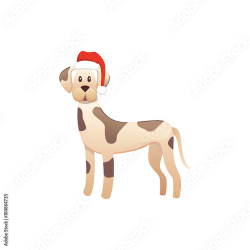 Foto op Canvas Bloemen vrouw cute dog in red santas hat. Christmas puppy winter cartoon illustration.