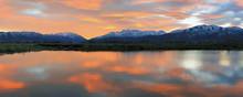 Fiery Rural Sunset Reflection, Utah, USA.