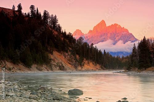 Fototapeta Wasatch Mountains sunset reflection, Utah, USA. obraz na płótnie