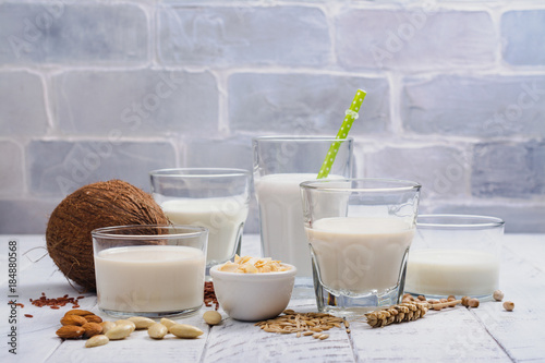Poster  Assortment of non dairy vegan milk and ingredients