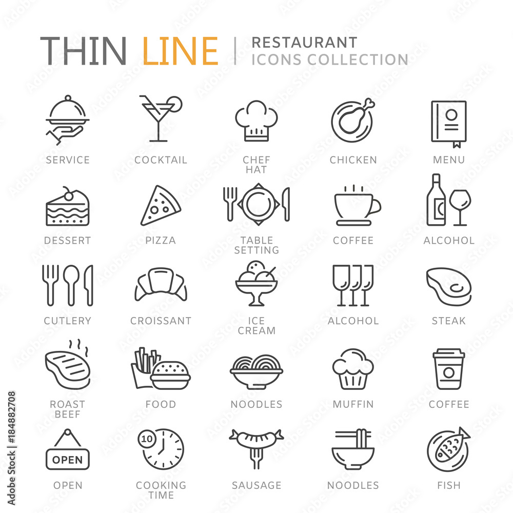 Fototapety, obrazy: Collection of restaurant thin line icons