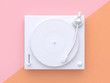 canvas print picture - white vinyl player pink orange background 3d rendering