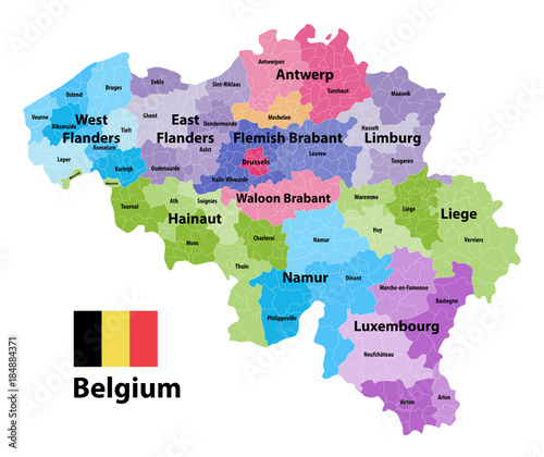 Belgium map showing the provinces and administrative ...