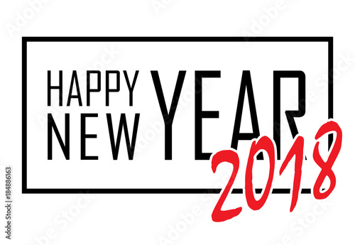 happy new year text in frame black border and font happy new year on