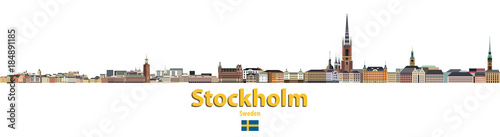 Photo  vector city skyline of Stockholm. Flag of Sweden