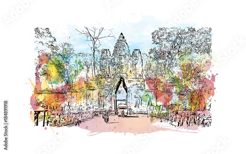Fototapety, obrazy: Angkor Wat Temple, Cambodia. Watercolor splash with hand drawn sketch illustration in vector