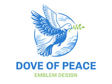 Dove Of The World - A Pigeon In Flight With A Twig Of A Plant In Its Beak Against The Background Of Clouds In A Circle - Logo, Emblem, Illustration Design On A White Background.