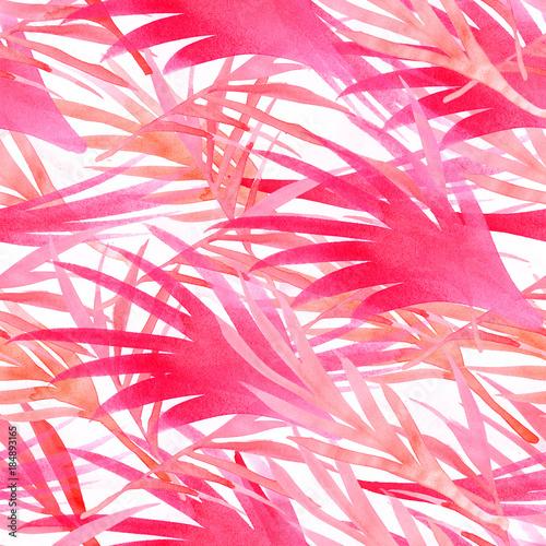 Fototapety, obrazy: Miami Tropical Watercolour Seamless Pattern. Bohemian Flora Vintage Floral Background. Pink, Purple Violet, Paradise Boho Tropical Watercolour Seamless Pattern. Exotic Palm Leaves Botanical Design
