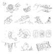 Funny set of cute dog hand drawn illustrations with various subjects. Vector sketch.