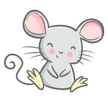 Funny And Cute Mouse Sitting A...
