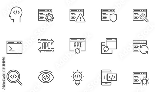 Fotografie, Obraz  Set of Software Development, Programming and Coding Line Icons