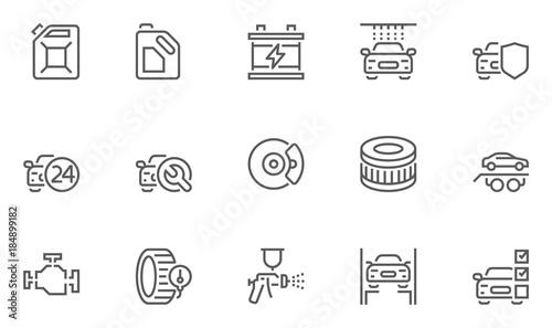 Zestaw ikon usługi samochodowe, auto naprawy i transportu wektor linii. Obrys edytowalny. 48 x 48 pikseli Perfect.