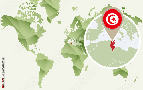 Fotografia Infographic for Tunisia, detailed map of Tunisia with flag.