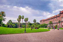 National Museum Of Capodimonte In Naples, Italy. It Is Italy's Largest Museum And Holds Neapolitan Painting, Decorative Art And Important Ancient Roman Sculptures. Palace Of Capodimonte.