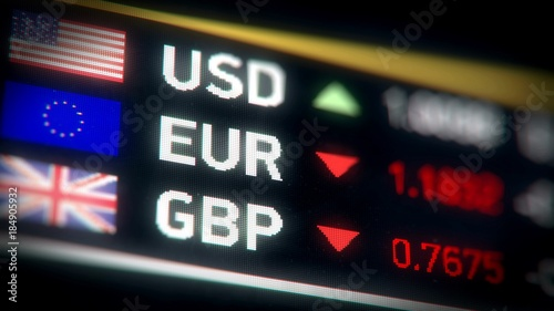 British pound, Euro, US dollar comparison, currencies falling, financial crisis Canvas Print