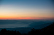 Mountain scenery in sunrise. Photo taken from Doi Ang Khang, Chiang Mai, Thailand