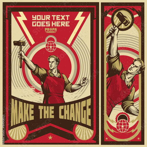 Poster Revolution. Propaganda Background Style. Canvas-taulu
