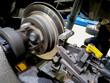 Closed up Car grinding disc brake machine