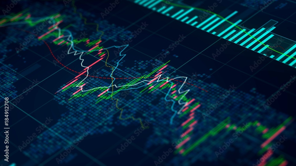 Fototapety, obrazy: Stock exchange statistics on screen, index prices growing and falling, trade