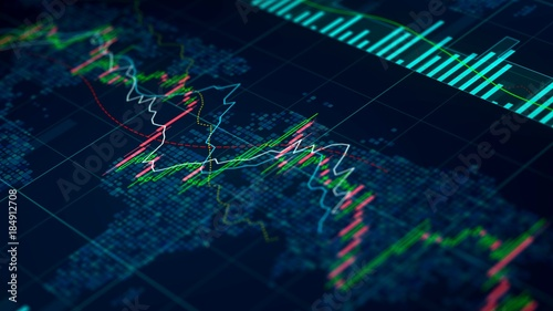 Fototapeta Stock exchange statistics on screen, index prices growing and falling, trade obraz