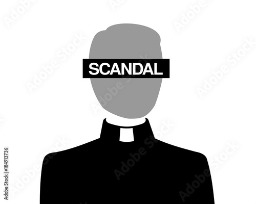 Problem of catholic christian church - priest is acussed because of inappropriate and improper scandal and scandalous behavior Canvas Print