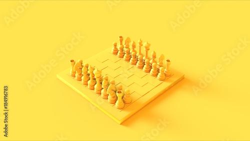 Fotografija  Yellow Chess Board and Pieces
