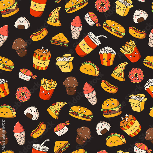 set of vector cartoon doodle icons junk food illustration of comicset of vector cartoon doodle icons junk food illustration of comic fast food seamless texture, pattern, wallpaper, background