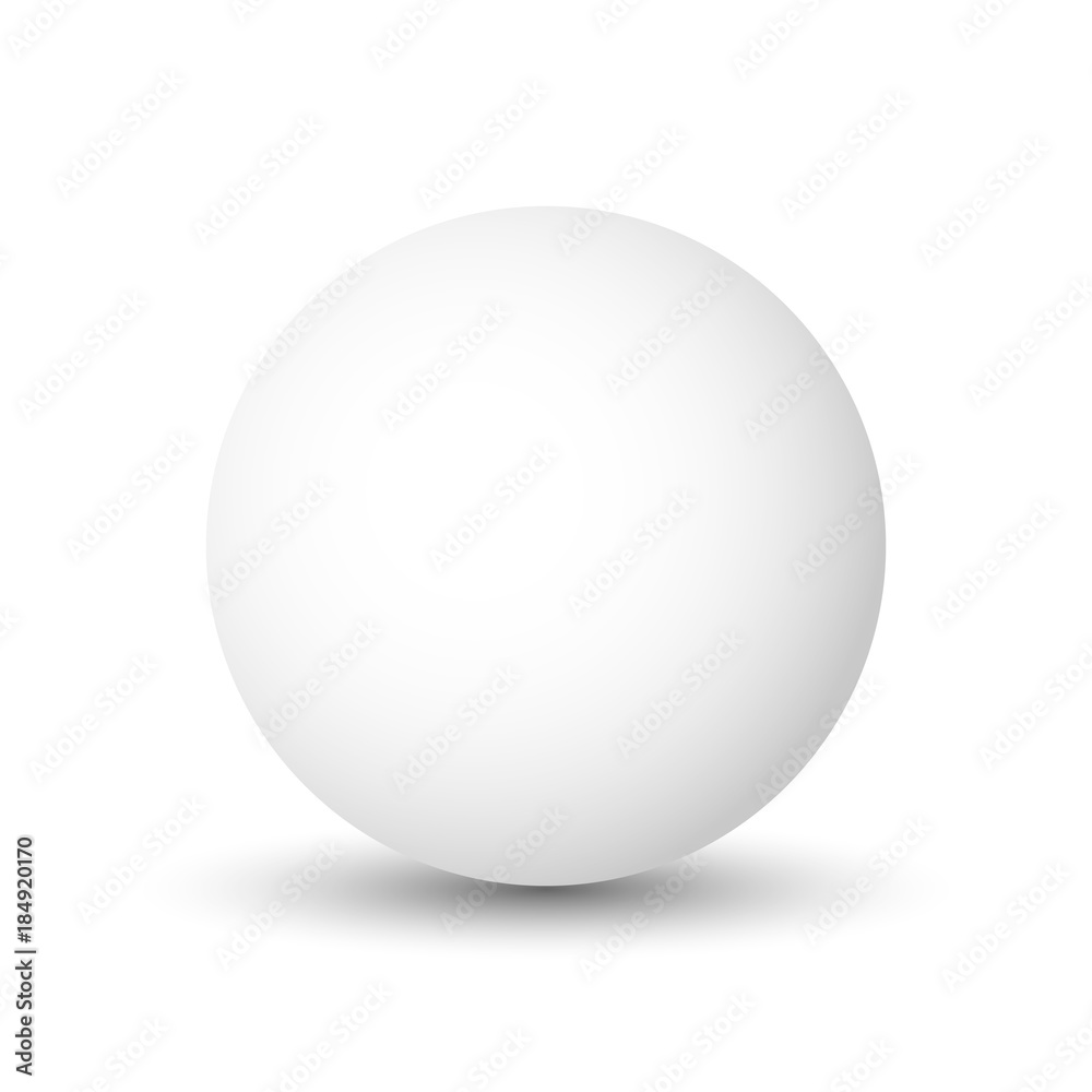 Fototapety, obrazy: White sphere, ball or orb. 3D vector object with dropped shadow on white background.