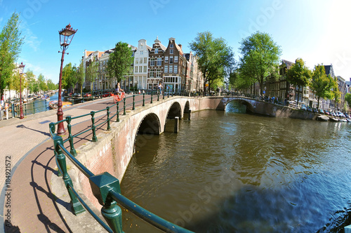 Sunny day at Canal Belt in Amsterdam, fish-eye photography Canvas Print