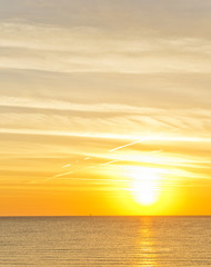orange dawn over mediterranean sea in summer. for travel and naturalistic concept