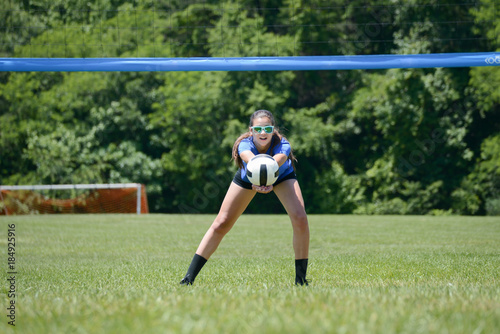 Volleyball player passing the ball