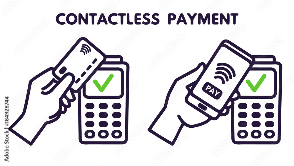 Fototapeta NFC technology payment vector ounline icon. Contacless, wireless payment with credit plastic card, smartphone, POS terminal. Mobile pay isolated sign