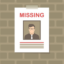 Vector Illustration Of A  Missing Person, Graphic Wanted Poster, Lost Anonymous Man