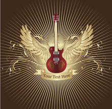 Guitar Grunge With Wings Illus...