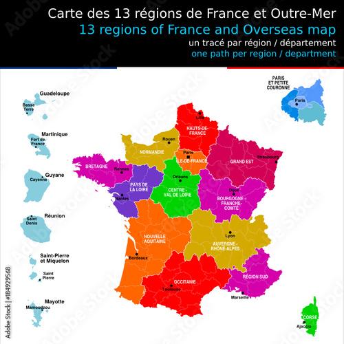 Nouveau Region Sud Carte Des 13 Regions De France Avec Le Nom Des Regions Et Chef Lieux De Region Un Trace Autonome Par Region Departement Buy This Stock