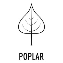 Poplar Leaf Icon. Simple Illustration Of Poplar Leaf Vector Icon For Web