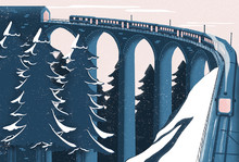 Illustration Of Train Moving Along Viaduct In Winter