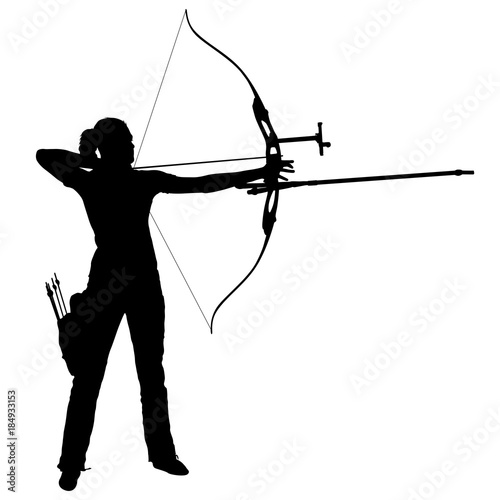 Silhouette attractive female archer bending a bow and aiming in the target Wallpaper Mural