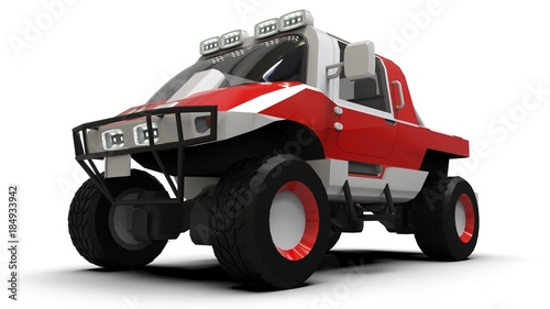 Foto op Canvas Cars Special all-terrain vehicle for difficult terrain and difficult road and weather conditions. 3d rendering.