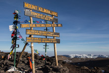 Sign On Top Of Mount Kilimanjaro At Uhuru Peak In Tanzania
