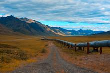 Oil Pipeline In Remote North Slope Of Alaska.