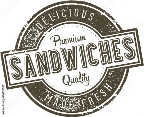 Fotografie, Obraz  Vintage Deli Sandwiches Menu Design Stamp