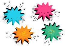 Colorful Set Of Comic Bubbles For Your Text. Comic Sound Effects In Pop Art Style. Sound Bubble Speech With Word And Comic Cartoon Expression Sounds Illustration. Vector Illustration.