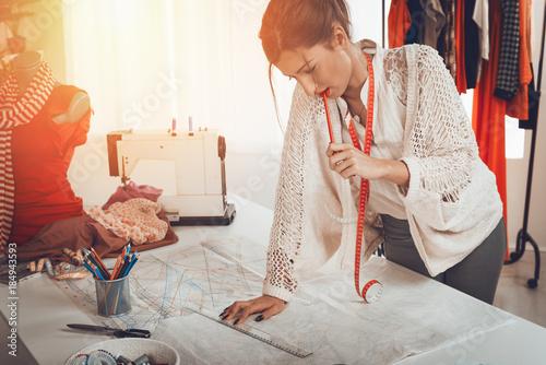 Obraz na plátně  Fashion Designer With Sewing Pattern