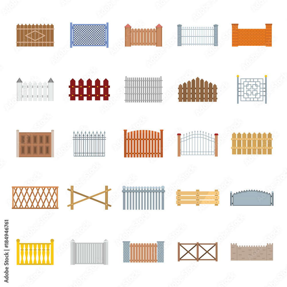 Fototapeta Fence country types icons set. Flat illustration of 25 fence vector icons for web