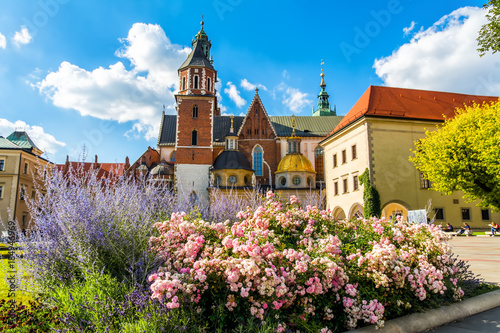 obraz PCV Amazing view of historic royal Wawel Castle and Cathedral in Cracow, Poland. Artistic picture. Beauty world.