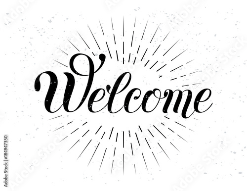 Welcome hand lettering Canvas Print
